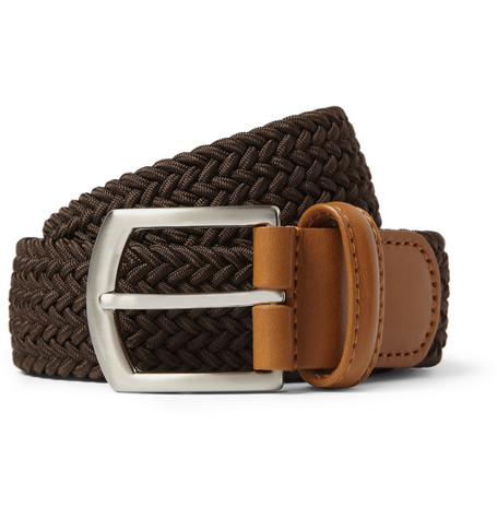 Anderson's Leather-Trimmed Elasticated Woven Belt