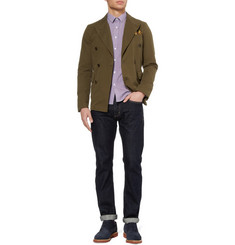 Bespoken Slim-Fit Check Cotton-Blend Seersucker Shirt