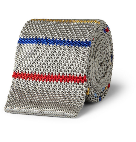 Bespoken Striped Knitted Silk Tie