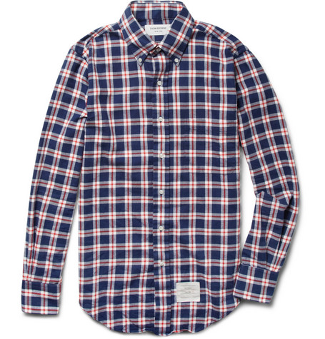 Thom Browne Button-Down Collar Check Cotton Shirt