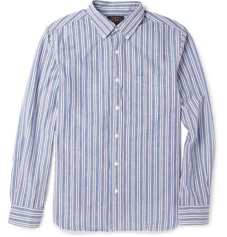 Beams Plus Striped Cotton-Seersucker Shirt