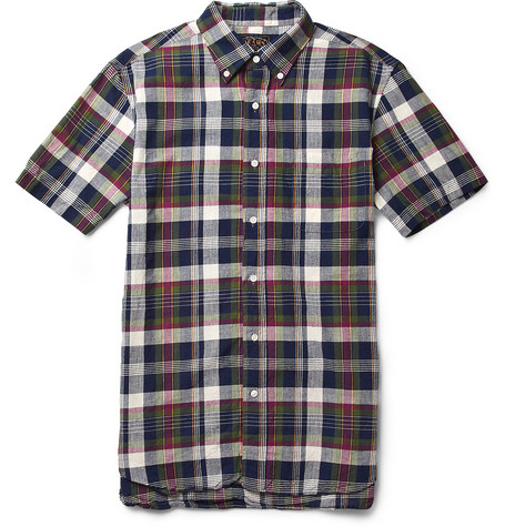 Beams Plus Short-Sleeved Madras-Check Cotton Shirt