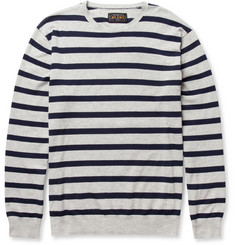 Beams Plus Striped Fine-Cotton Crew Neck Sweater