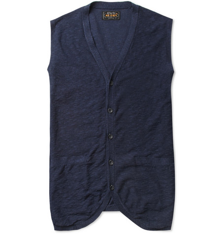 Beams Plus Linen and Cotton-Blend Sleeveless Cardigan
