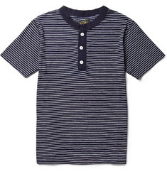 Beams Plus Striped Cotton-Jersey Henley T-Shirt