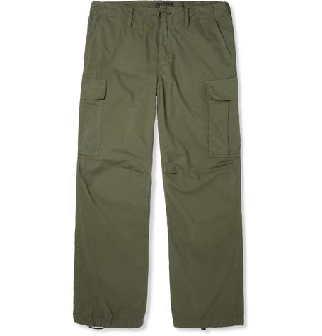 Beams Plus Wide-Leg Cotton-Blend Cargo Trousers