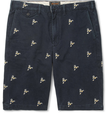 Beams Plus Paisley-Embroidered Cotton-Twill Shorts