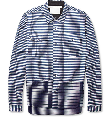 White Mountaineering Printed Contrast Panel Cotton Shirt