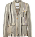 White Mountaineering - Striped Cotton and Linen-Blend Suit Jacket