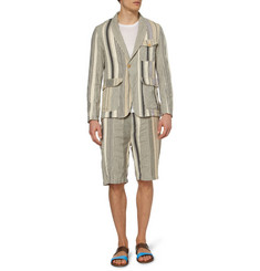 White Mountaineering Cream Cotton and Linen-Blend Suit Jacket
