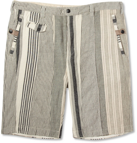 White Mountaineering Striped Cotton and Linen-Blend Suit Shorts