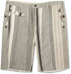 White Mountaineering Cream Cotton and Linen-Blend Suit Shorts