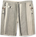 White Mountaineering - Striped Cotton and Linen-Blend Suit Shorts