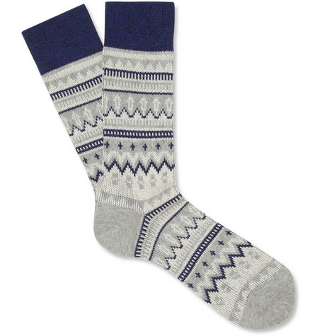 White Mountaineering Fair Isle Cotton-Blend Socks