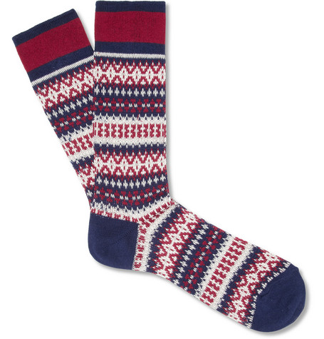 White Mountaineering Patterned Knitted Cotton-Blend Socks