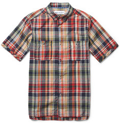 White Mountaineering Short-Sleeved Madras-Check Cotton Shirt