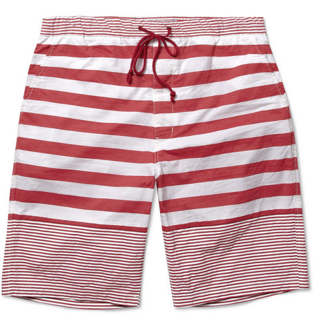 White Mountaineering Striped Cotton Shorts