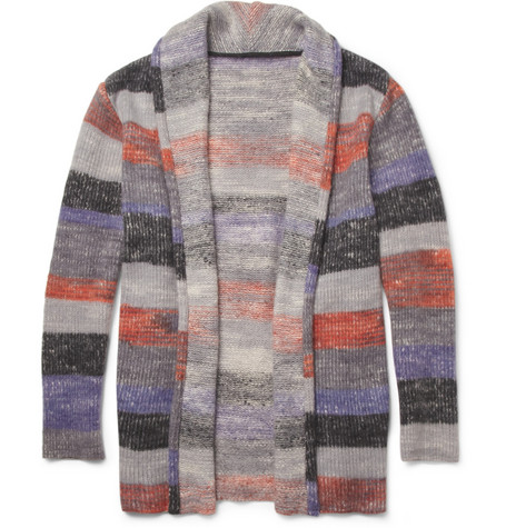 The Elder Statesman Striped Cashmere Cardigan