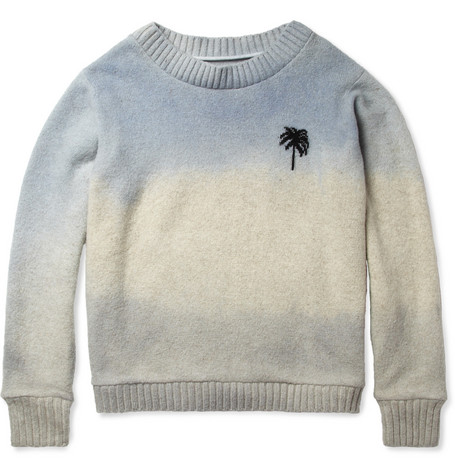The Elder Statesman Hand-Dyed Palm-Pattern Cashmere Sweater