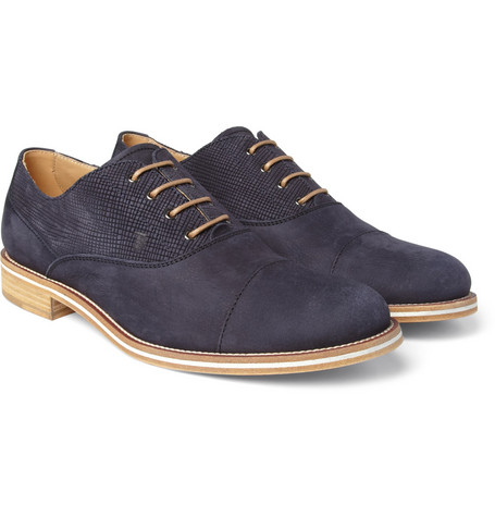 Tod's No_Code Contrast-Panel Suede Oxford Shoes