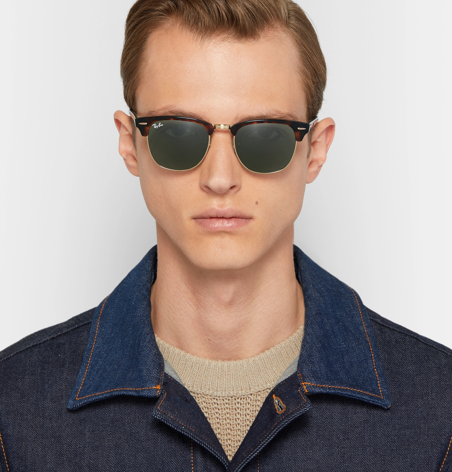 6702fecea8 Ray-Ban - Clubmaster Acetate and Gold-Tone Sunglasses