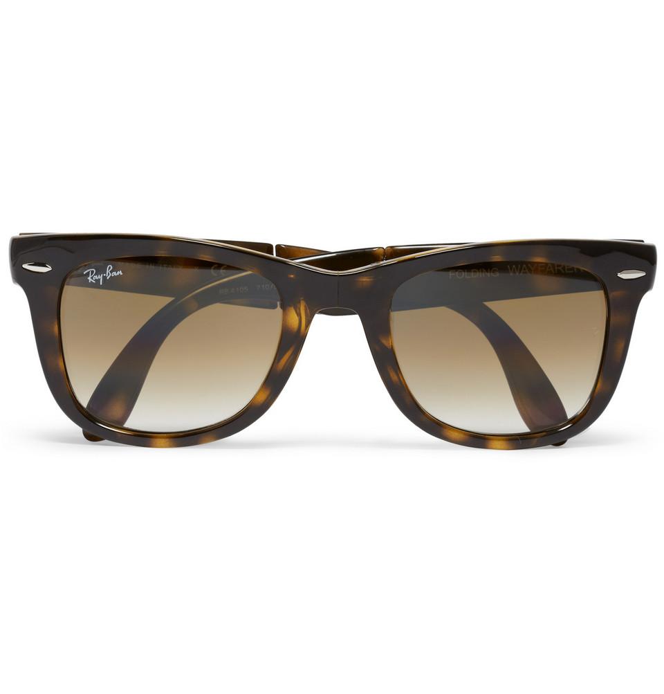 Folding Wayfarer Acetate Sunglasses Tortoiseshell