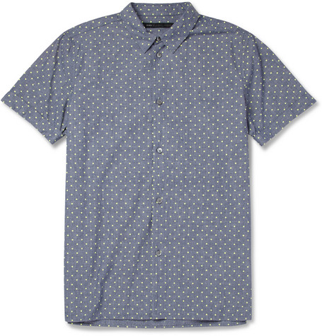 Spot-Print Cotton-Chambray Shirt