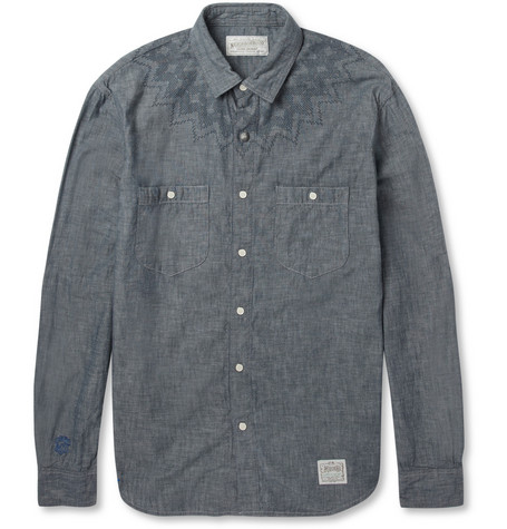 Neighborhood Nordic Printed Cotton-Chambray Shirt