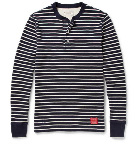 Neighborhood Striped Waffle-Knit Cotton Henley T-Shirt