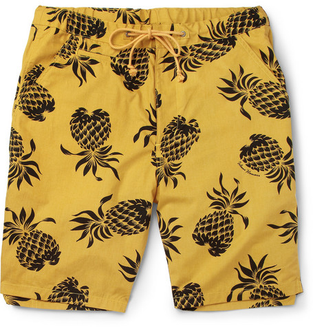 Neighborhood Iolani Pineapple-Print Cotton Shorts