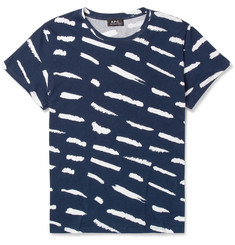 A.P.C. Printed Cotton and Linen-Blend T-Shirt