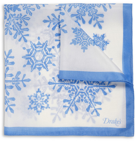 Drake's Snow Flake-Print Silk Pocket Square