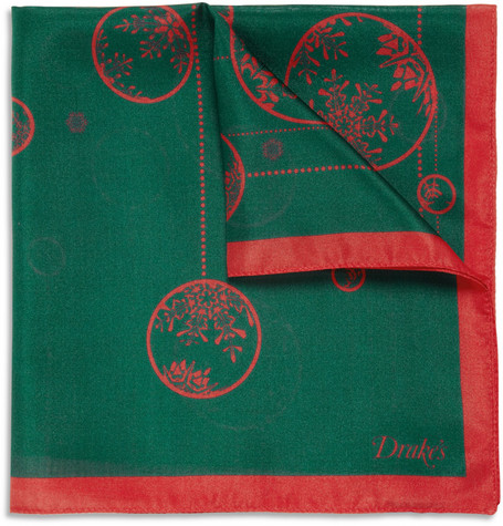 Drake's Bauble-Print Silk Pocket Square