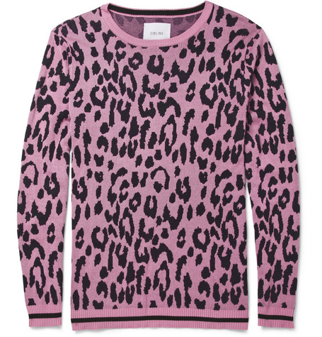 Sibling Sibling Leopard-Patterned Cotton-Blend Sweater