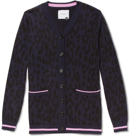 Sibling Sibling Leopard-Patterned Cotton-Blend Cardigan
