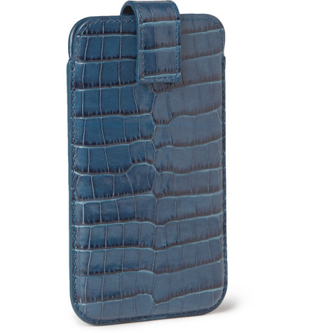 Smythson Crocodile-Embossed Leather iPhone 5 Case