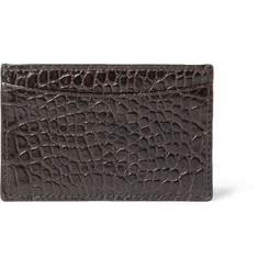 Smythson Crocodile-Embossed Leather Card Holder