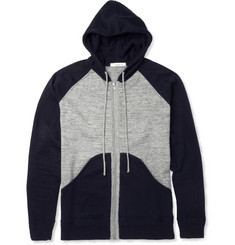 Sandro Panelled Knitted-Cotton Hoodie