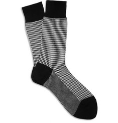 Beams Plus Houndstooth Cotton-Blend Socks
