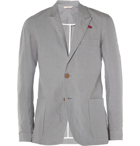 Oliver Spencer Grey Launceston Slim-Fit Linen Suit Jacket