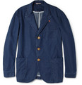 Oliver Spencer Blue Washed-Denim Chambray Suit Jacket