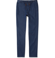 Oliver Spencer Blue Washed-Denim Chambray Cotton Suit Trousers