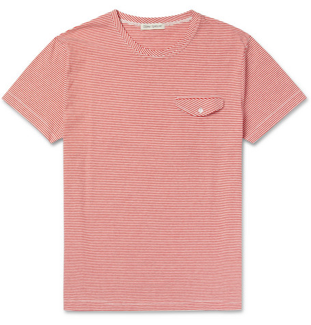 Oliver Spencer Striped Cotton Crew Neck T-Shirt