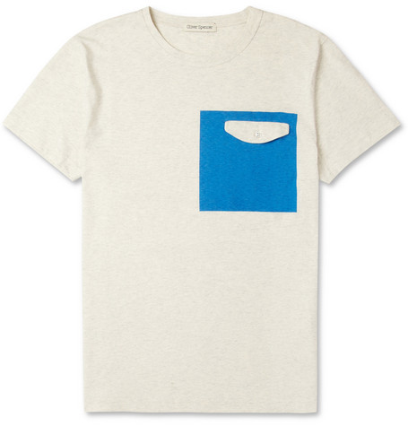 Oliver Spencer Square-Print Cotton Crew Neck T-Shirt