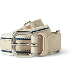 Faconnable Leather and Canvas Belt