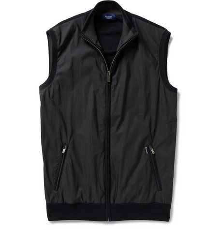 Faconnable Shell-Front Knitted Cotton Gilet