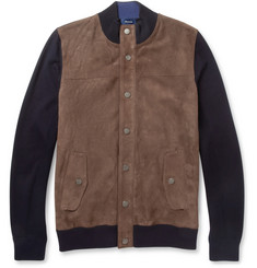 Faconnable Suede-Front Cotton and Cashmere-Blend Bomber Jacket