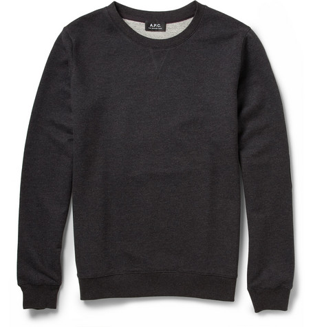 A.P.C. Faux Leather Elbow-Patch Loopback Cotton-Jersey Sweatshirt