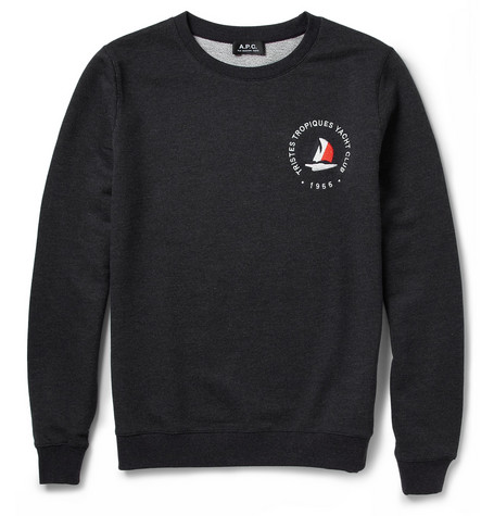 A.P.C. Embroidered Loopback-Cotton Sweatshirt