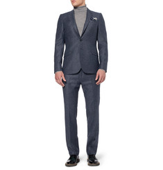 PS by Paul Smith Navy Flecked Wool-Blend Suit Trousers